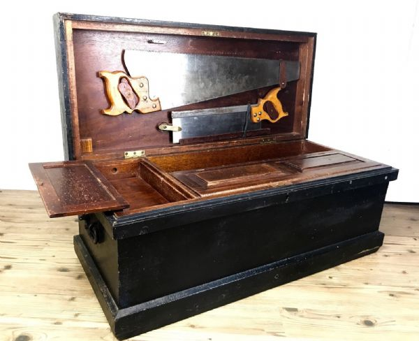 Antique Wooden Tool Box Large - E T Roberts & Lee Saw - Mahogany And Burr Chest